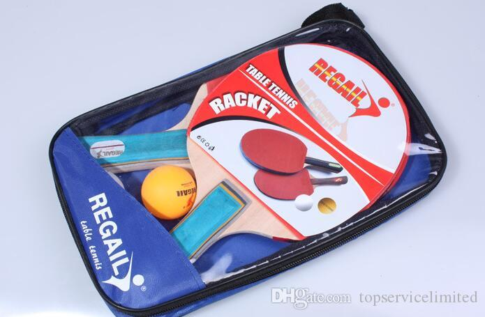 Table Tennis Racket Set Double Face Shake-hand Ping Pong Paddle with Retail Bag Training For Students Kids