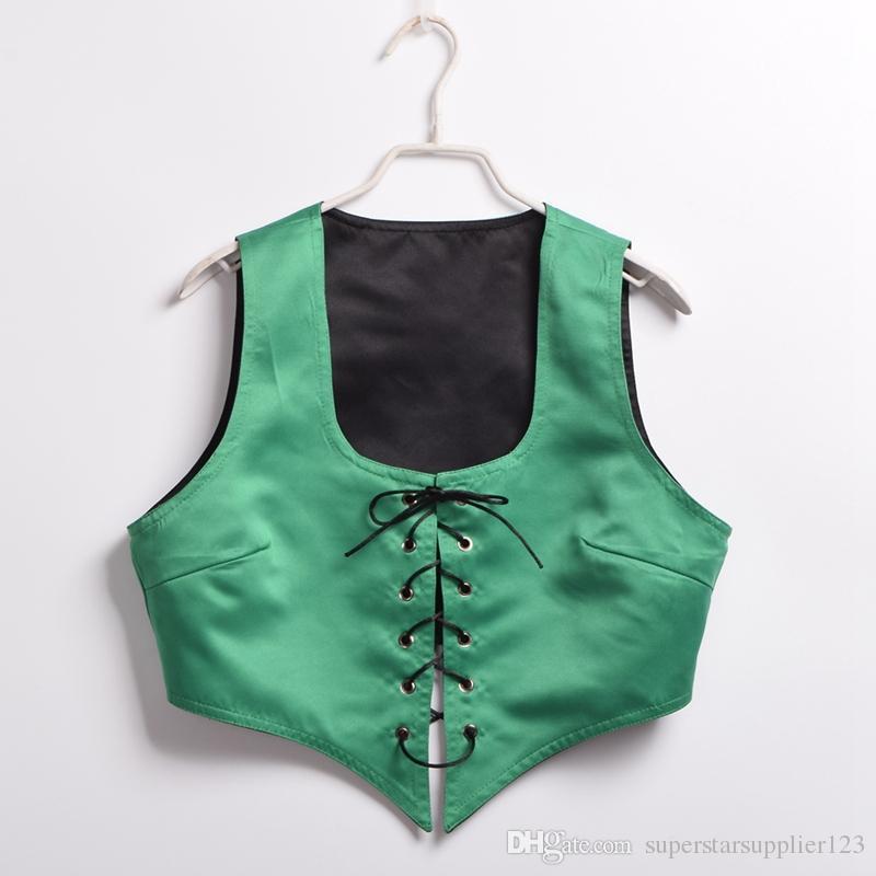 1шт Реверсивный Узелок корсет Vest Vintage Средневековая Pirate Wench лифа сексуальный костюм платье вверх синий / зеленый / фиолетовый / красный