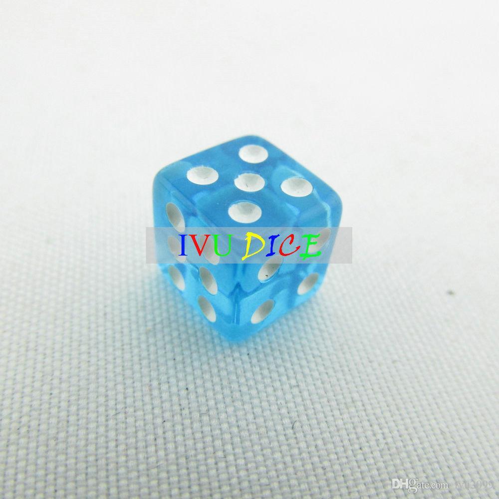 8 мм 6side кости прозрачный синий с белой точкой 1-6 автоматическая игра маджонг КТВ партия машина кости иву
