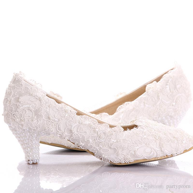 New Style White Lace Low Heel Wedding Bridal Shoes Kitten Heel Bridesmaid  Shoes Elegant Party Embellished Prom Shoes Lady Dancing Shoes White Lace  Wedding ...