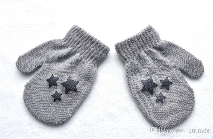 es / 2016 Enfants Dot Motif Étoile Motif D'hiver Mitaines Bébé À Tricoter Chaud Doux Gants Enfants GarçonsFilles Mitaines Unisexe Mitaines Pour Enfants