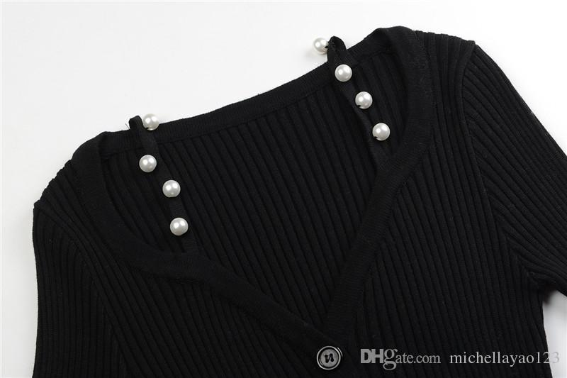 2017 Black V Collar Long Sleeves Long Pullover Women Brand Same Style Shoulder Pearls Bodycon Knitting Dress Women DH305
