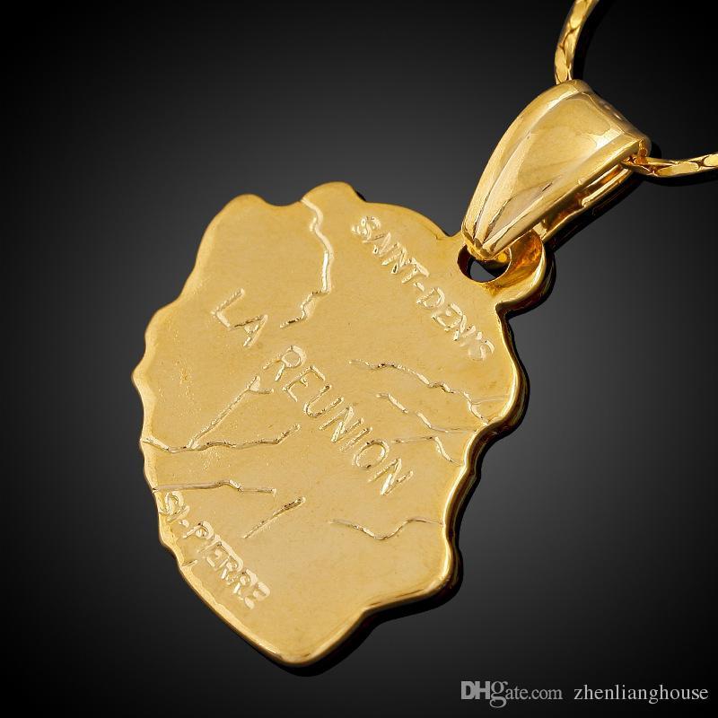 l Ile de la Reunion Karte Kupfer Messing-Anhänger 18K Gold überzogenes Statement Anhänger machen Halskette hängenden Schmuck Special Promotion Geschenk