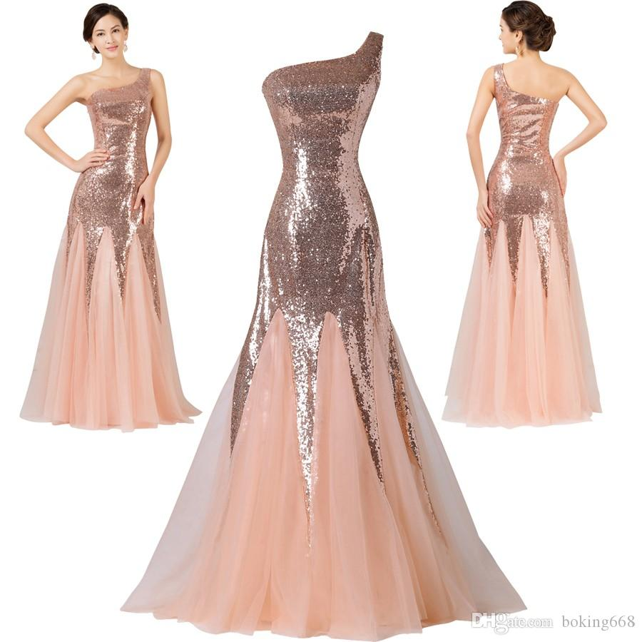Cheap Floor length formal evening dress gown 2019 new Elegant pink mermaid lace chiffon maxi long dress One-Shoulder prom party dress