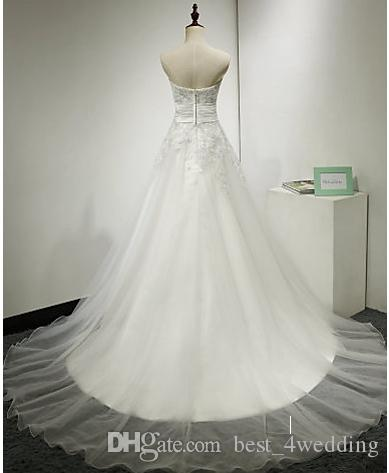 A-line Wedding Dress Sweep / Brush Train Strapless Tulle with Appliques / Ruche babyonline