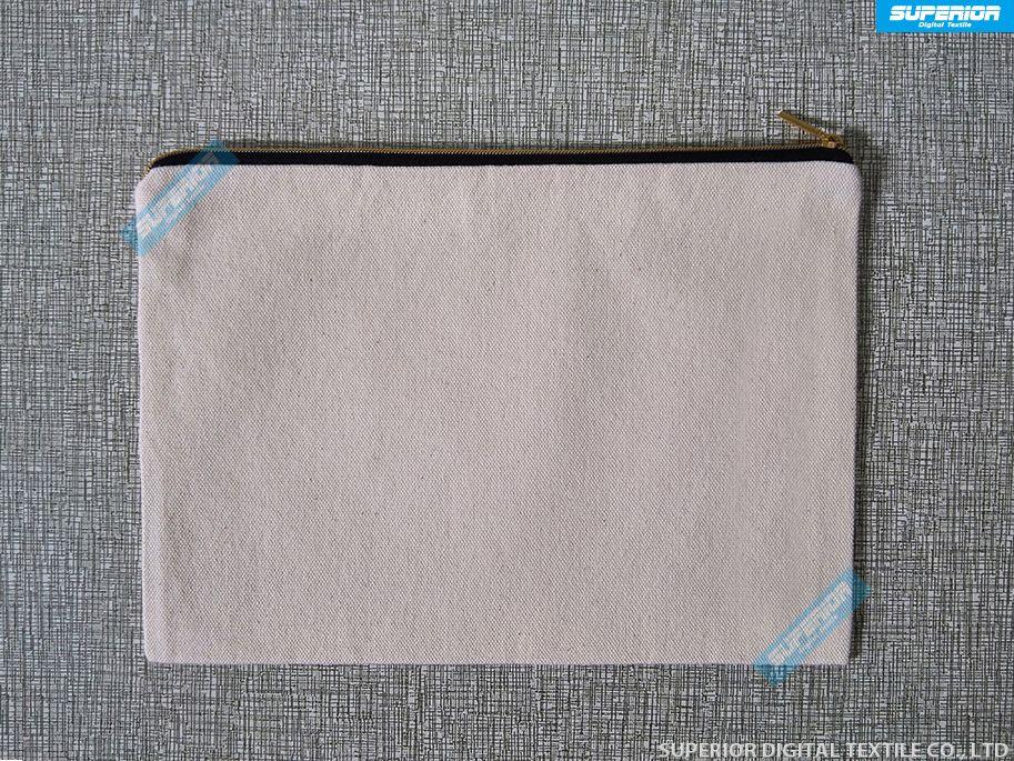 7x10 인치 12 온스 순수한 코튼 캔버스 모조 금 지퍼 화장 용 가방 검정색 골드 메이크업 백은 자연 / 화이트 / 미색 / 블랙 4 가지 색상 있습니다