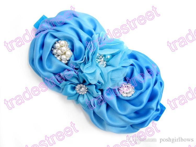 Livraison gratuite de Bandeaux bébé Big Flower Lace bébé Band cheveux avec perle de bébé Accessoires cheveux de bébé Turban Bandeau