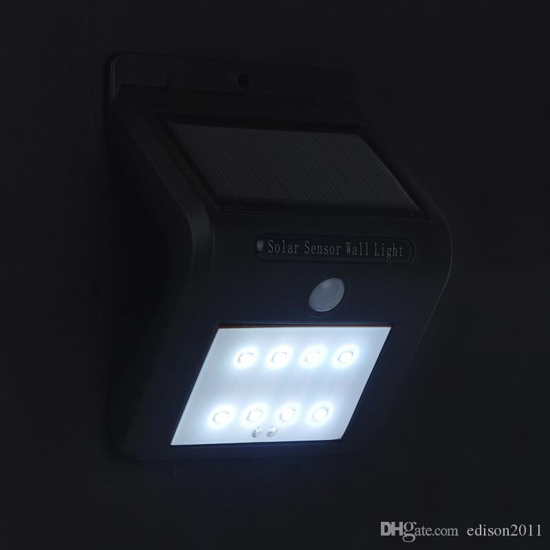 Edison2011 2017 New Arrival 8 LED Solar Lights Outdoor Security Lighting Solar Powered Lamps Motion Sensor Light Control Wall Light