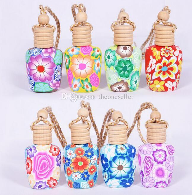 New Arrive 15 ml Car hang decoration polymer clay essence oil Perfume bottle Hang rope empty bottle