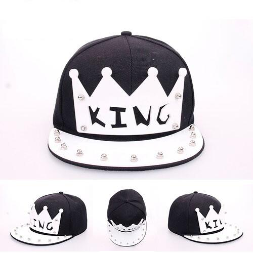 New Hot Sale Crystal Acrylic Letter King Snapback Caps for Women Men ... 5e0bdb16c413