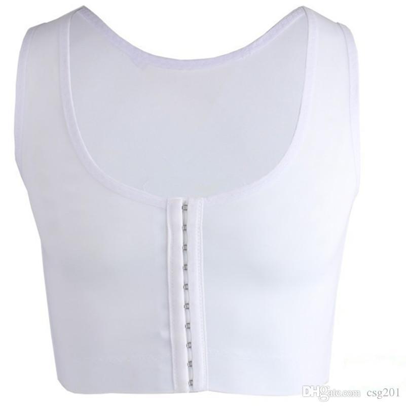 Mens-BH Gynäkomastie-Kasten-Körper-Former-Weste für Mann-Brüste Moobs und flatten Klammer-Unterstützung Schwarz-weiße Haken-Steueroberseiten