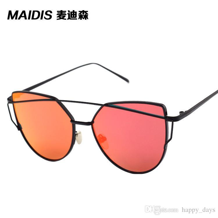 f6cf47e11f MERRY S Fashion Women Cat Eye Classic Brand Designer Twin Beams Sunglasses  Coating Mirror Flat Panel Lens S 7882 Sunglases Cheap Designer Sunglasses  From ...