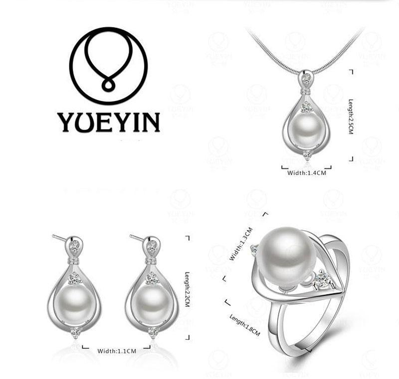 Natural Pearl Jewelry Set New Fashion 925 Silver Necklace Earrings and Ring Luxury Wedding Jewelry Sets for Brides