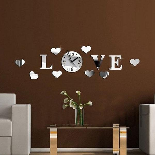 Perfect Clock Manufacture Diy Love Word Pattern Design Wall Stickers Clocks 3d  Crystal Mirror Living Room Home Modern Decoration Wall Sticker Clock Unique  Clocks ...