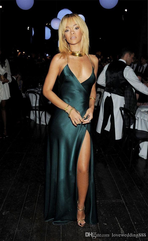 2019 Recién llegado Vestidos de baile sexy Correas espaguetis Cruz atrás Dividir en el piso delantero Longitud Seda de imitación Funda Vestidos de fiesta por encargo