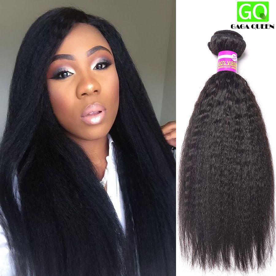 Brazilian Virgin Hair Straight Coarse Yaki Brazilian Hair Weave