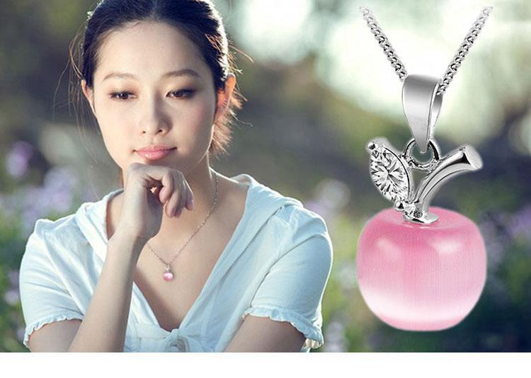 Charme Pequeno Apple Opal Pingente de cristal Austríaco 925 sterling silver Colar Pingentes Mulheres Jóias Finas Acessórios Pequena Maçã Opala Penda