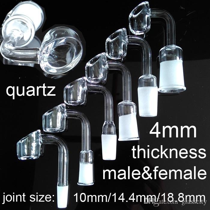 Großverkauf domeless Quarz-Barker-Nagel 4mm dick 10mm 14mm 18mm männlicher weiblicher Gelenkquarzknall domeless Nagel 45 Grad 90 Grad für wählen