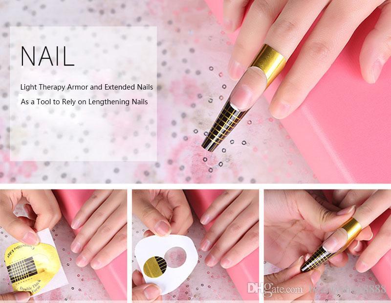 A1-D038 Nail Art Extension Ongle Forme Or En U En Forme de Nail Autocollant Bande Guide Autocollants Adhésif Acrylique UV Gel Conseils Gros