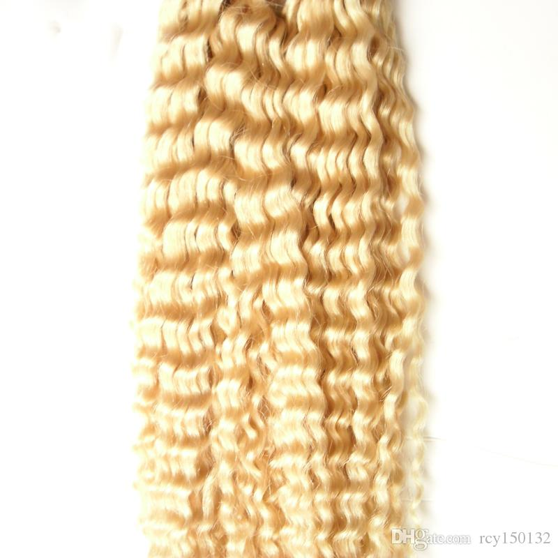 Blonde hair 613 kinky curly indian remy human hair I Tip hair Extensions 100s