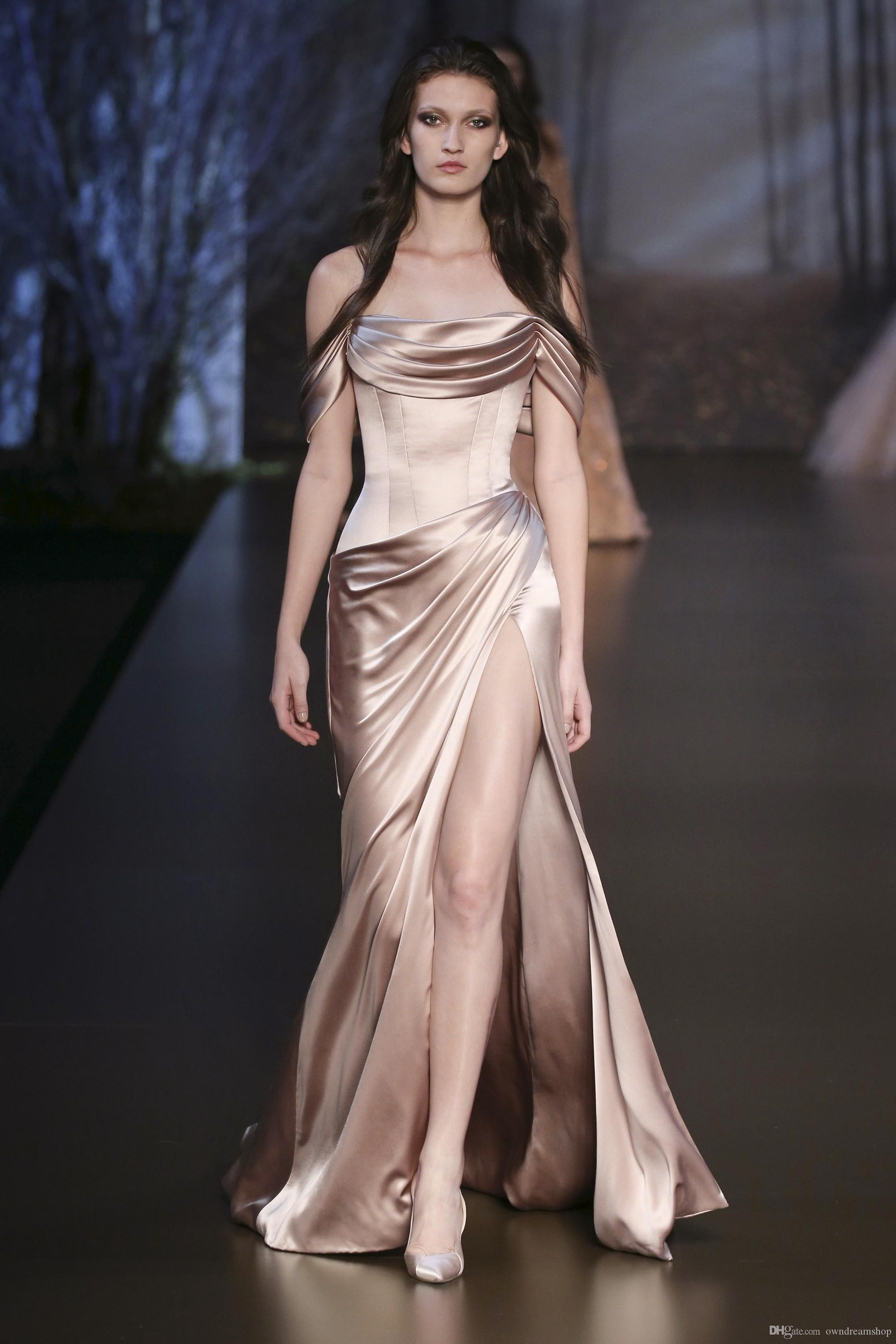 Ralph& Russo 2016 Champagne Satin Celebrity Evening Dresses Off Shoulder Front Split Pleats Sexy Open Back Prom Special Occasion Party Gowns