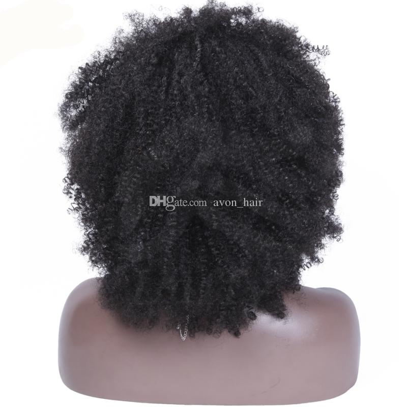 For African American Afro Kinky Curly Human Hair Wig Mongolian Kinky Curly Full Lace Wig Lace Front Wigs For Black Women 130% Density