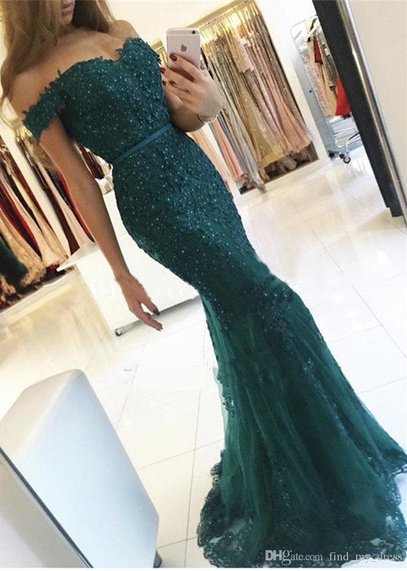 Vintage Open Back New Mermaid Dark Turquoise Evening Gowns Off Shoulder Prom Party Dresses Custom Size Beaded Sash Lace Sweetheart Applique