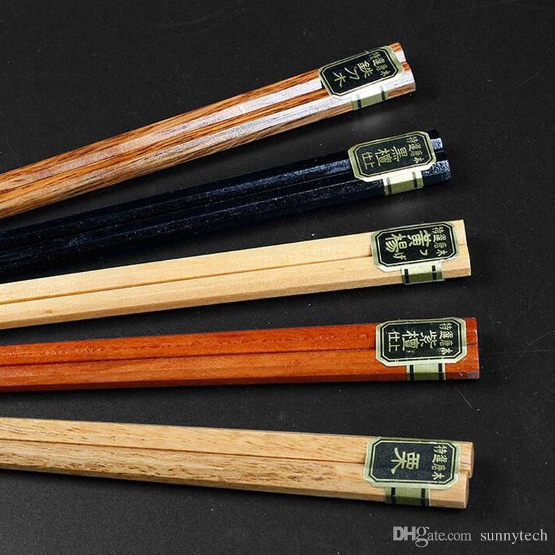 5 par / set palillos de madera chinos vajilla antideslizante hogar conjunto de palillos de madera titular de cubiertos caja de regalo ZA4985