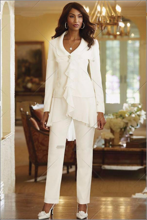 Stunning Chiffon Women White Slim Fit Pant Suits Lady Mother Bride Trousers Wedding Party One Button Business Casual Wear Custom Tailor