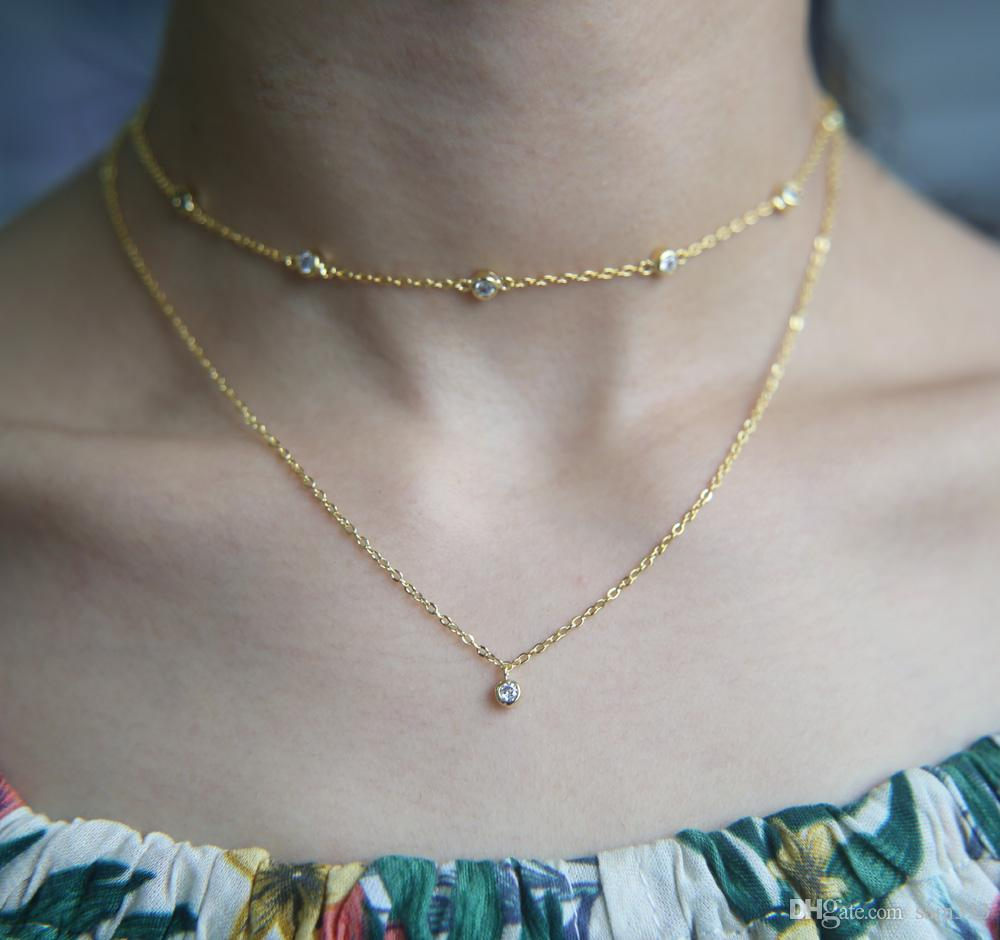 new rose silver itm layer gold necklace img fine double or larissa