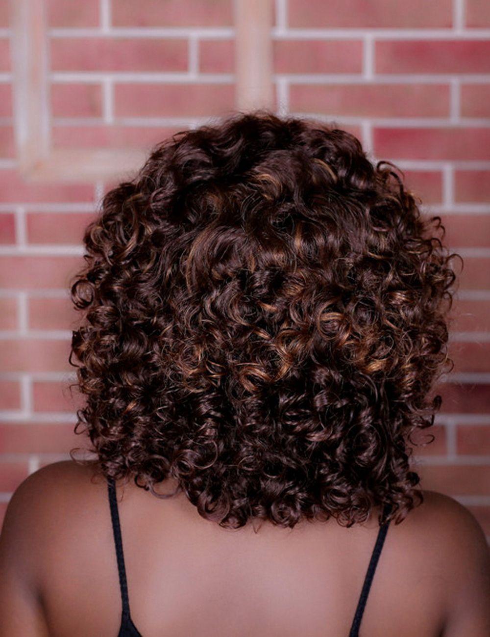 Xiu Zhi Mei Peruca Encaracolado Marrom Escuro Para As Mulheres Negras Resistente Ao Calor Sintético Africano Americano Penteados Curtos
