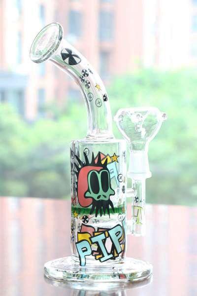 new Arrival Cool Colored Logo Glass Bong Oil Rig Percolator bongs Hookahs Smoking pipes Fashion bong