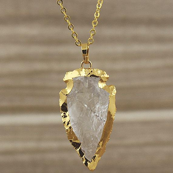 Encantos del cristal de roca de cuarzo punta de flecha Flecha colgante con oro chapado Bordes Bail, cristal de cuarzo Druzy punta de flecha Colgante de piedras preciosas SD48_30