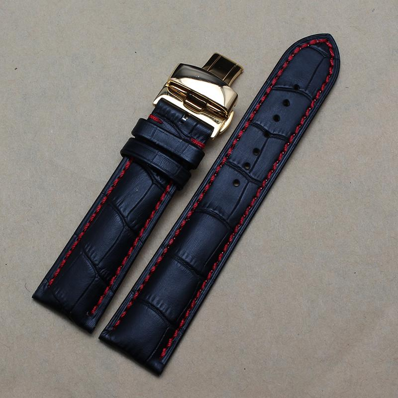 Uhrenarmband für Uhrengehäuse 20 22mm - Top - Stilvolle Gold - Butterfly - Schließe für die Fesselung Rot genähte Echtleder - Uhrenarmbänder