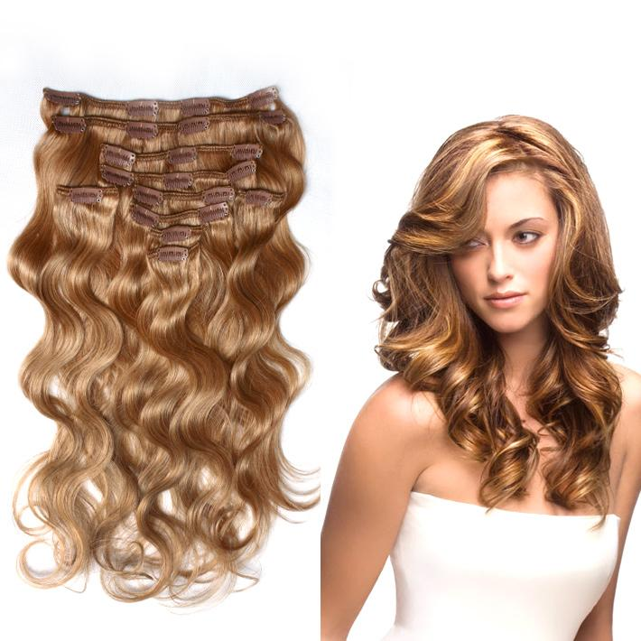 120g14 Virgin Clip Human Hair Extensions 20inch 24inch Body Wave