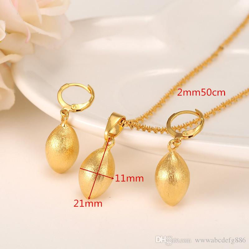 Egg Oval Bead Necklace Pendant Bullet Earrings Jewelry Set Party Gift 14k Yellow Fine Gold GF Africa ball Women Fashion