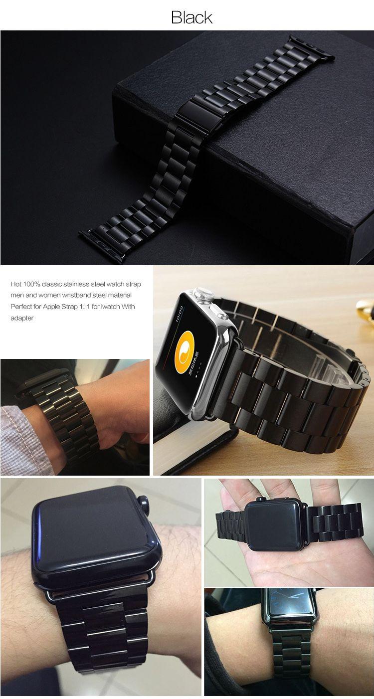 banda de acero clásica pulsera de lujo de la mariposa de acero para el reloj de la manzana 38 mm 40 mm 42 mm 44 mm oro para la Serie iWatch 1 2 3 4 Correa