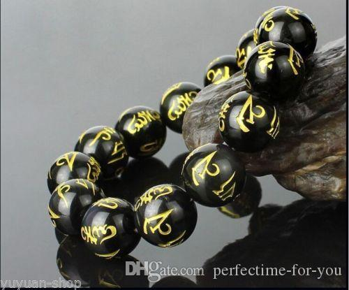 Тибет природный черный халцедон нефрит Будда 6 слов молиться 8-18 мм бусины браслет