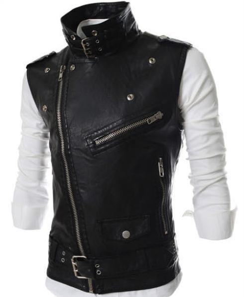 PU 조끼 남자 민소매 자켓 PU 가죽 더 많은 Incline 지퍼 디자인 빅 턴 다운 칼라 Mtorcycle 바이커 자켓 코트 무료 배송 Cool