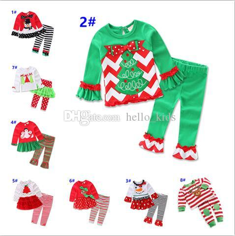 82f352ee9 2019 Girls Christmas Outfits 2017 Santa Long Sleeve Top+Ruffle Pants ...