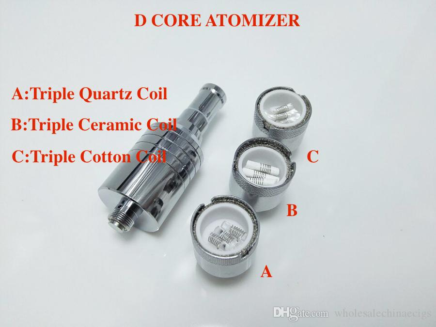 Triple Coil D core wax atomizer double replacement Ceramic Cotton rob wax vaporizer dual heating coil wax Skillet Cannon cartomizer ecig