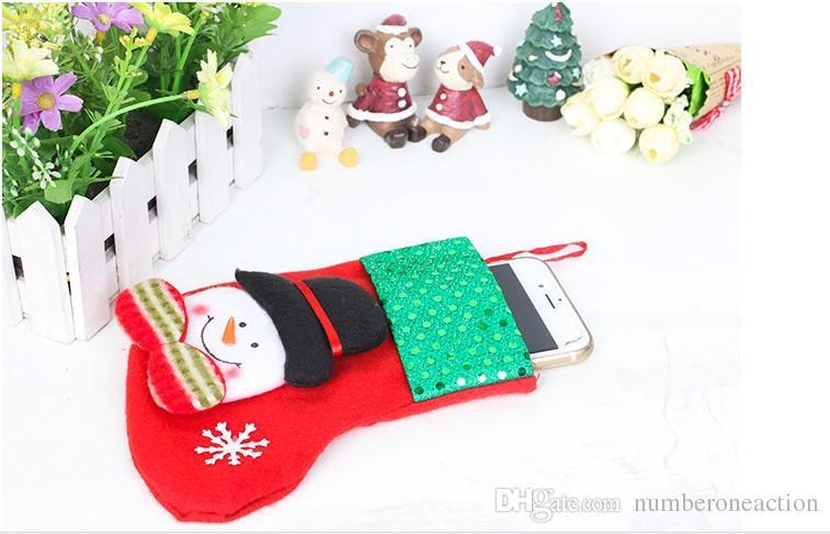 Mini Calze di Natale Coprivassoio la tavola Decorazioni l'albero di Natale Decorazioni natalizie Festival Ornamento feste Paillettes scintillanti