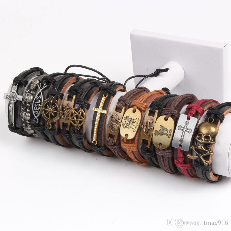 Band der neuen Weinlese Metall Leder der Frauen der Männer Surfer-Armband-Stulpe-Armband mischte Art-Legierung Anhänger Retro Schmuck Charm Armband