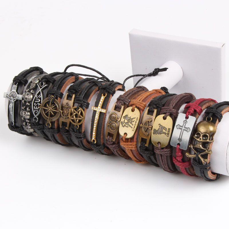 Cinturino in pelle nuova annata metallo delle donne degli uomini del surfista del braccialetto del polsino Wristband sacco braccialetto di fascino del pendente della lega stile misto Retro Gioielli