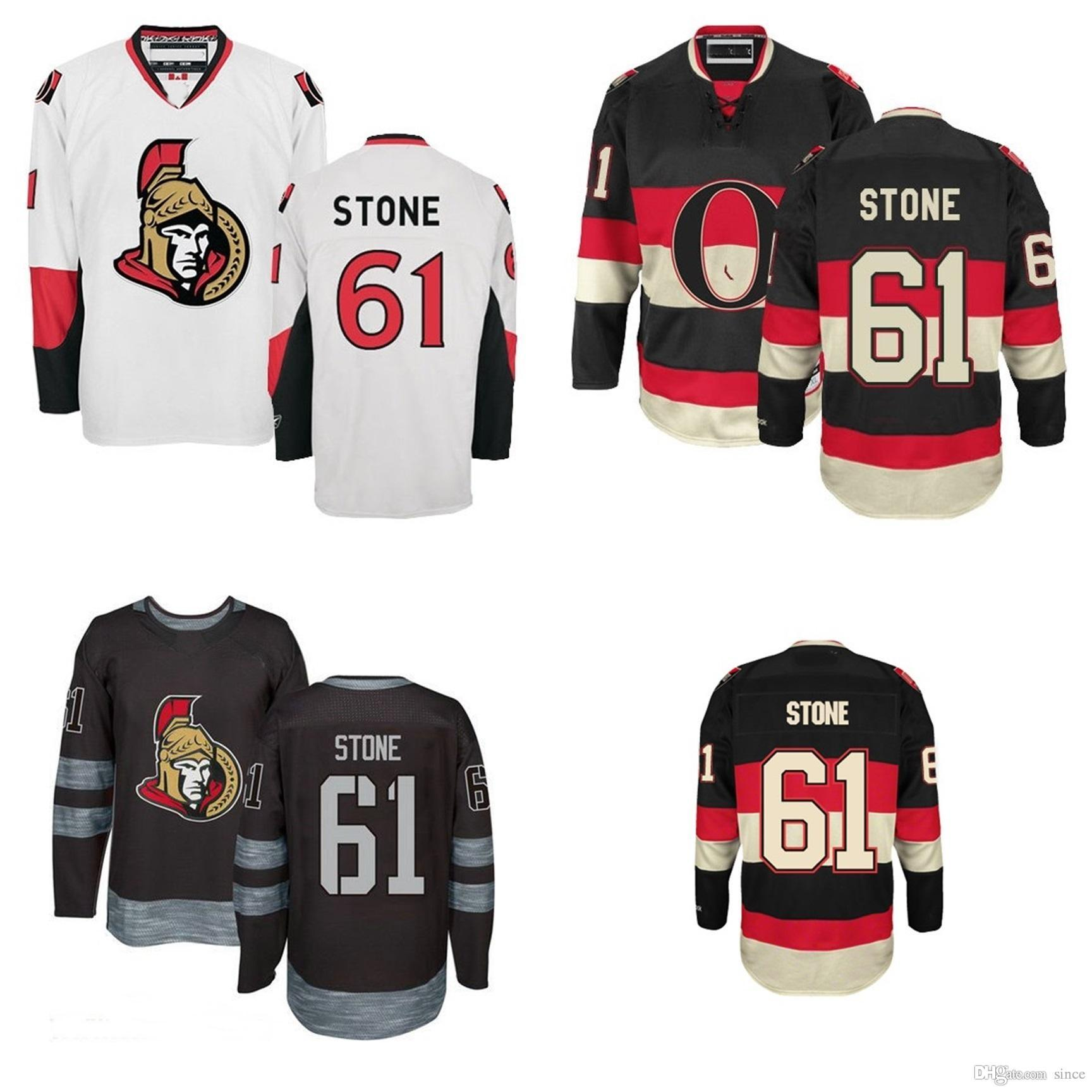 Mens Ottawa Senators Jerseys 61 Mark Stone 100th Anniversary Jersey Third  Black Authentic Away White Ice Hockey Jersey Size S-3XL 61 Mark Stone  JerseyS ... f73420c95
