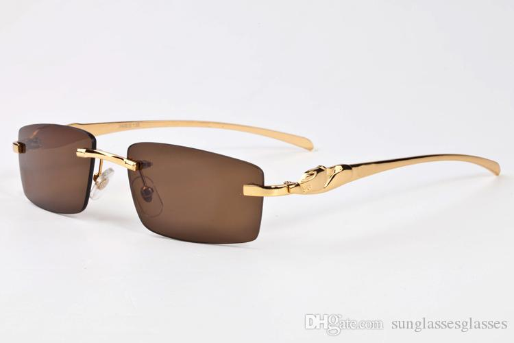 2017 lunettes de soleil de marque or argent cadre lunettes claires lentilles semi sans monture miroir femmes pas cher lunettes de soleil lunettes de soleil avec étui