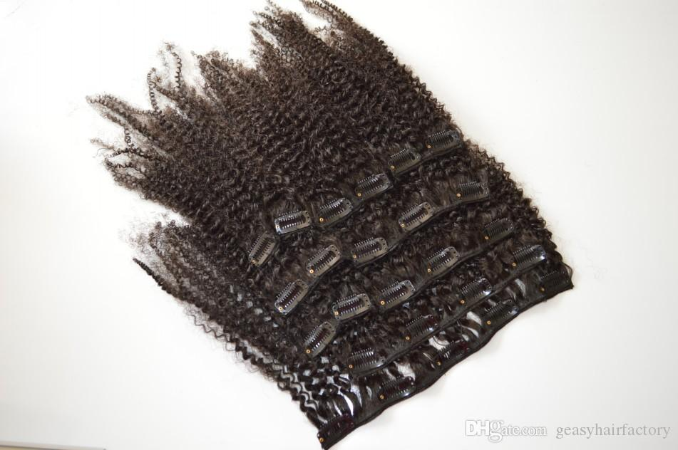 African American Clip In Hair Extensions Human Unprocessed Virgin Indian Afro Kinky Curly Clip In Hair Extension 120G LaurieJ Hair