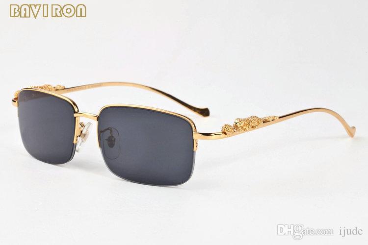 con caja 2019 moda gafas de sol oro aleación de plata aleación metal leopardo marco hombres mujeres búfalo bronce gafas claro lente sol gafas