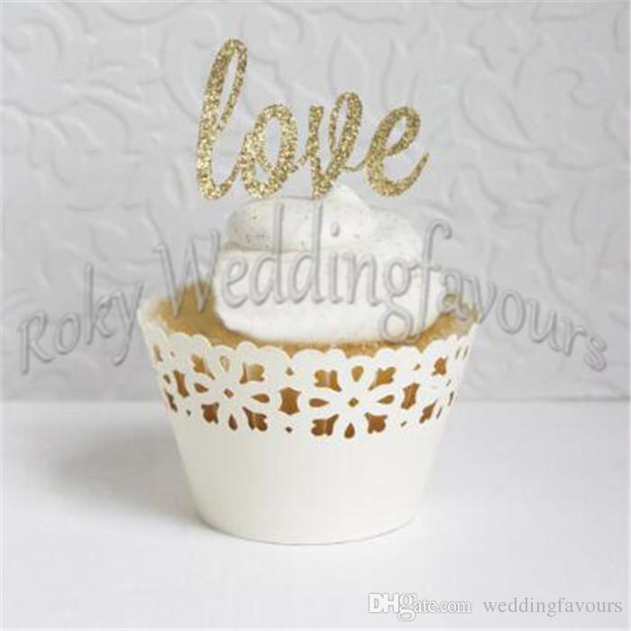 Gold LOVE Glitter Cupcake Picks Wedding Supplies Party Cupcake Picks Topper LOVE Toothpicks Favors Table Decoration
