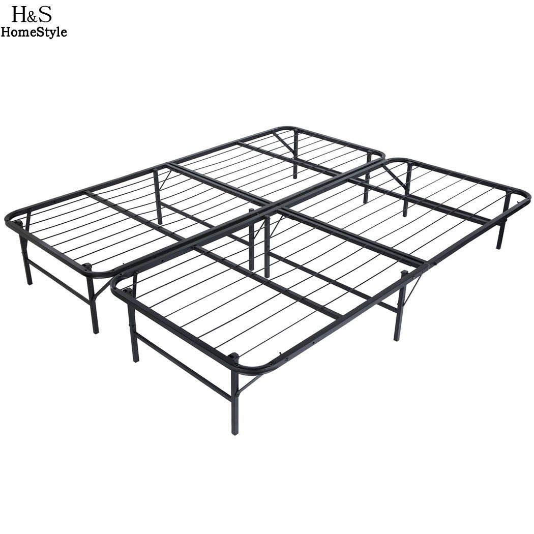 2018 Homdox King Size Metal Folding Platform Bed Frame Base Mattress ...